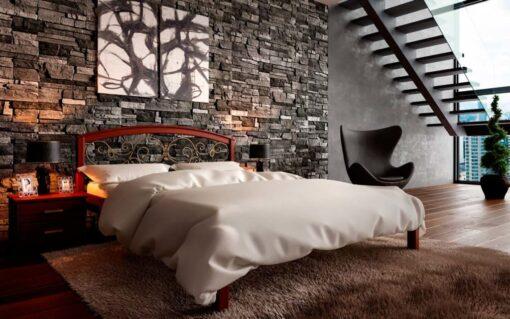 кровати из массива дерева Британия с ковкой ЧДК