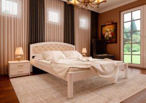 купить деревянную кровать Британия с мягким изголовьем ЧДК
