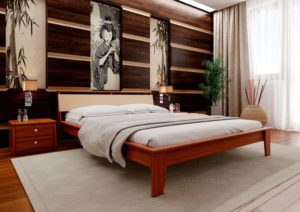 кровать из дерева Венеция с мягким изголовьем ЧДК