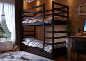 Кровать Эля двухъярусная ЧДК темный орех