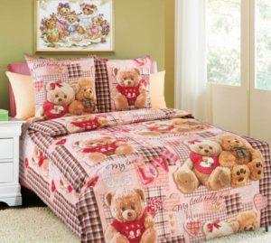 детское постельное белье в кроватку Плюшевые мишки роз.