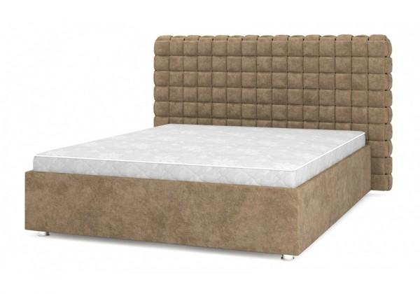 кровать с мягким изголовьем Квадро Люкс 09-Coffee