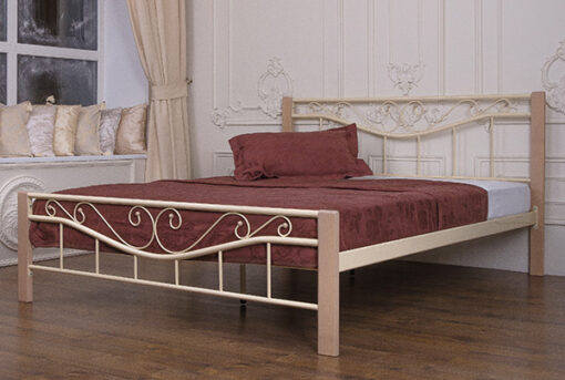 Кровать-Эмили-металлическая-Melbi-светлая