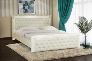 Кровать Ривьера слоновая кость патина золото Микс-мебель