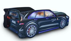 Кровать-машина-Джип-черный-Porsche-вид-сзади
