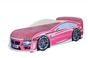 Кровать машинка BMW розовая