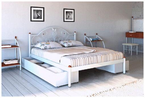 Кровать-Анжелика-Металл-Дизайн-белая-фото