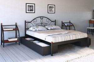 Кровать-Анжелика-Металл-Дизайн-черная-с-подкатными-ящиками