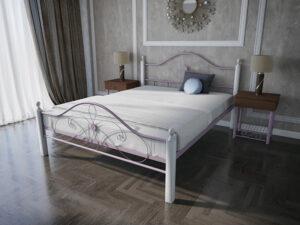 Кровать-Фелиция-Вуд-двуспальная-розовая-в-интерьре-Melbi