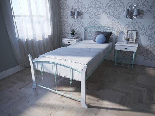 Кровать-Летиция-Вуд-односпальная-бирюза-Melbi