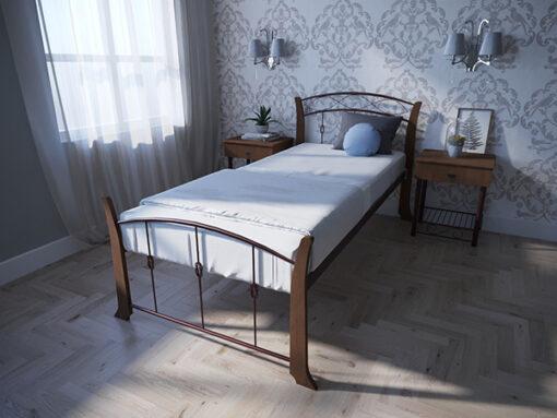 Кровать-Летиция-Вуд-односпальная-бордо-Melbi