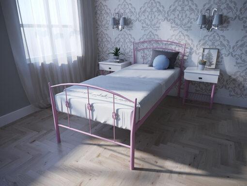 Кровать-Летиция-односпальная-розовая-Melbi