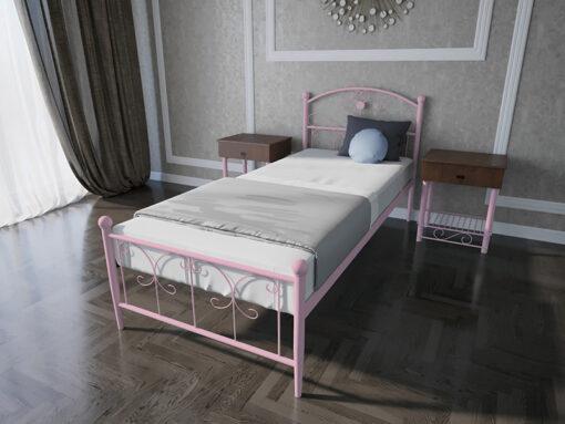 Кровать-Патриция-Melbi-односпальная-розовая-металл