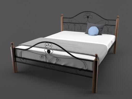 Кровать-Патриция-Вуд-Melbi-двуспальная-черная-металл