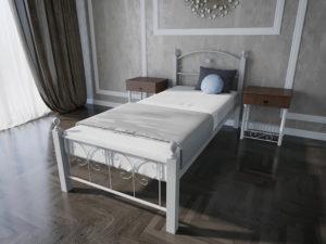 Кровать-Патриция-Вуд-Melbi-односпальная-белая-металл