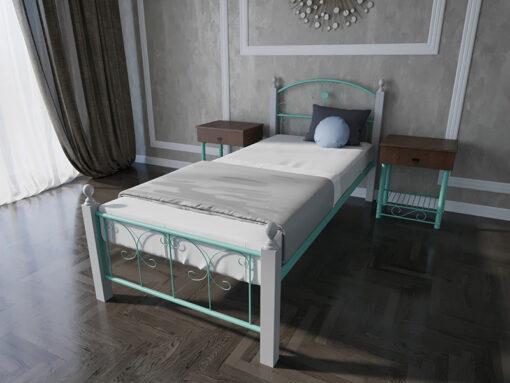 Кровать-Патриция-Вуд-Melbi-односпальная-бирюзовая-металл