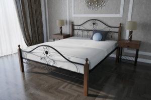 Кровать-Патриция-Вуд-двуспальная-черная-в-интерьре-Melbi-металл