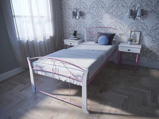 Кровать-Селена-Вуд-односпальная-розовая-Melbi