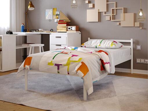 Кровать-из-металла-Comfort-1-Метакам-белая