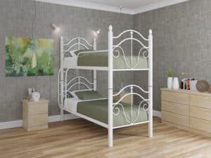 Кровать Диана деревянные ножки двухъярусная Металл-дизайн
