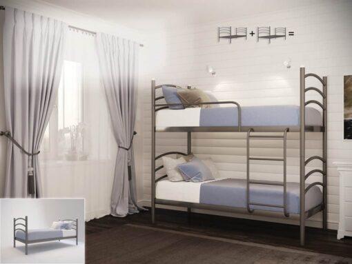 Кровать Маргарита двухъярусная Металл-Дизайн